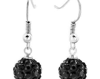 10mm Black Shamballa Dangle Drop Swarovski Crystal Pave  Earrings With 925 Sterling Silver French Ear Wires