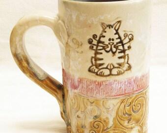 ceramic fat cat coffee mug 16oz stoneware 16D083