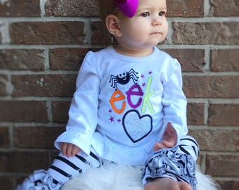 Eek! -  Girl's holiday - Halloween Applique Shirt - Girl's Halloween Shirt - Holiday Designs - Monogrammed Shirt