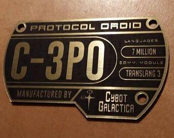 Custom C-3PO Specifications Data Plate Star Wars DROID Serial Jedi