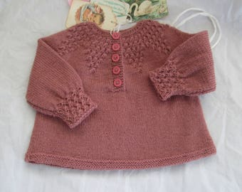 Hand Knit Baby Sweater 3M to 6M Ready to Ship Pullover Pink Wool