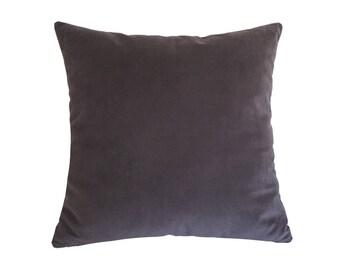 "Plum Velvet Suede Decorative Throw Pillow Cover / Pillow Case / Cushion Cover / 20x20"""