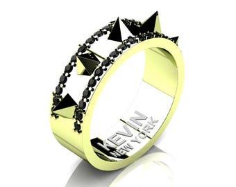 Mens New York 18K Green Gold Black Diamond Crown Spike Wedding Band RK101M-18KGGBD