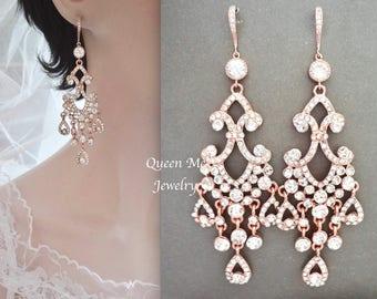 Rose gold chandelier earrings, Rose gold crystal chandelier earrings~ Rose gold wedding earrings~ Rose gold crystal wedding earrings, ABRI