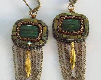 Summer sale Fashionable Earrings, Trendy Jewelry, Malachite Gemstone, Bronze Chains, Green, Bronze,Chained Earrings, Bead embroidery