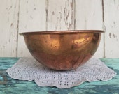 French Antique Copper Bowl - Solid Copper Hanging Pot, Vintage Cookware or Serving Ware, Kitchen Decor, Distressed Copper Pot or Retro Bowl