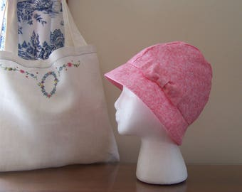 Chemo Care Gift Package - Cotton Cloche Hat in Pink with Satin Lining and Vintage Linen Tote Bag, Cancer or Chemotherapy Patient Gift