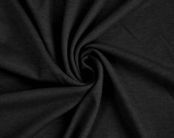 Black  French Terry Spandex Fabric by the yard (295)