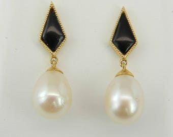 Pearl and Black Onyx Dangle Drop Earrings 14K Yellow Gold June Birthday Wedding