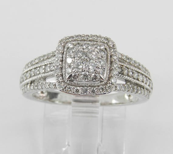 Diamond Cluster Halo Cocktail Ring Promise Engagement Ring White Gold Size 5.5