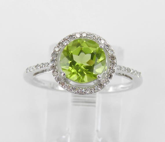 Diamond and Peridot Halo Engagement Ring 14K White Gold Size 6 August Gemstone