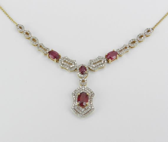 "14K Yellow Gold Ruby and Diamond Drop Halo Necklace 17"" Chain July Birthstone"