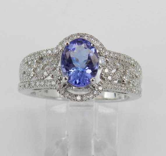 14K White Gold 1.75 ct Diamond and Tanzanite Engagement Promise Ring Size 7