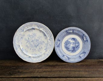 Antique Blue & White Ironstone Plates, Blue and White English Transfer Ware Plates, J Clementson, Staffordshire Antique Farmhouse Decor