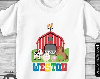 Barnyard Shirt or Bodysuit - Barnyard Birthday Shirt -  Farm Animals Birthday Shirt - old mcdonald theme birthday shirt