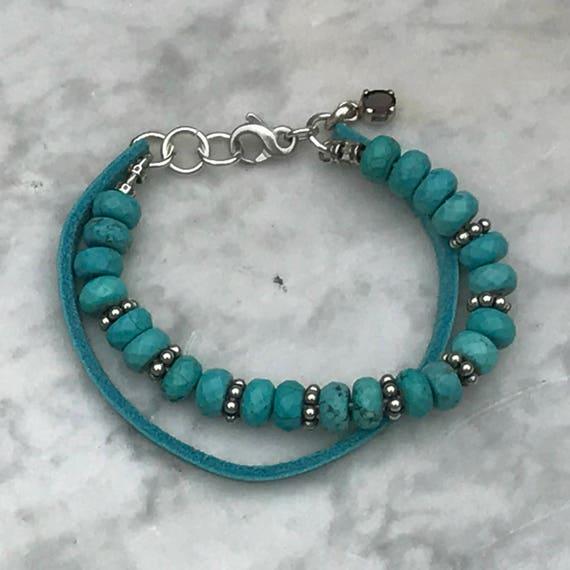 Turquoise - Sterling Silver Bracelet - Garnet Dangle Pendant - Artisan Southwestern Cowgirl Jewelry - Sundance Style