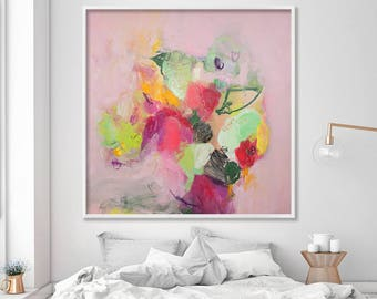 "Abstract Floral Painting Large Wall Art Print from Canvas Painting Pink and Green chic feminine art ""English Garden 1"""