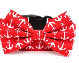 "Summer Dog Collar 1"" or 1.5"" Anchor Dog Collar Matching Bow Tie Available"