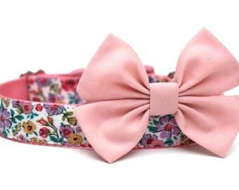 Fabric Dog Collar Bow for Dog Collar Dog Collar Bow Add-On Pink or Aqua