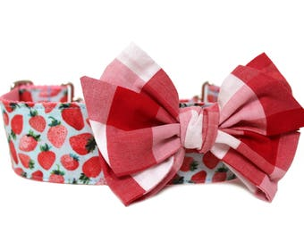 Dog Collar Bow Add-On Red and Pink Plaid Bow for Dogs Matching Dog Bow Dog Collar Gingham Dog Bow Summer Dog Bow