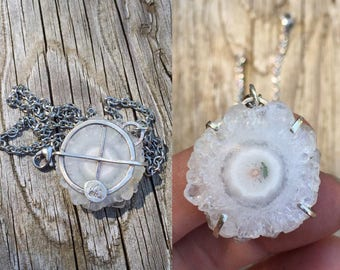 Solar Quartz Necklace Pendant Odin's Cross Viking Sun Wheel 925 Sterling Silver - Stalactite / Stalagmite Crystal Slice - Summer Solstice