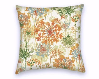 Orange Green Blue Cream Little Tree Decorative Throw Pillow-18x18 or 20x20 or 22x22- Pillow Cover- Accent Pillow