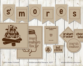 SALE  Let's Make S'mores, S'mores Party Kit, S'mores Table Station, Campfire Camp Out Bonfire, Graham Cracker Marshmallow Chocolate