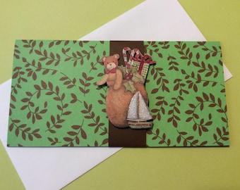 Handmade, Christmas Money Card, Green, Brown, Brown Band, Childs Embellishment, Santas Bag, Teddy Bear, Sailboat, Candy Canes, Present,