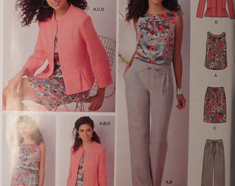 Womens Fashion Ensemble, Skirt, Pants, Top, Jacket, New Simplicity Sewing Pattern 1467, Misses Fashion Sizes K5 8, 10, 12, 14, 16