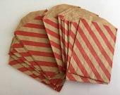 "Sale Mini Paper Treat Bags - Red diagonal stripes - 2.75""x4"" Brown Kraft Paper"