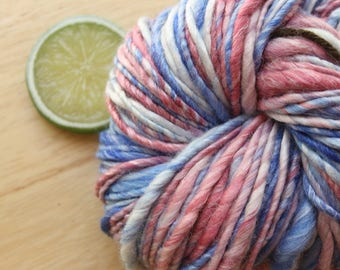 4th of July - Handspun Blue Red Yarn Merino Wool Heavy Worsted Weight