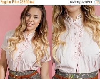 FLASH SALE 50s Lace Blouse Vintage Pink Linen Collar Blouse