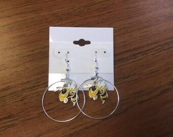 "Georgia tech Yellow Jackets,""ahoop earring new."