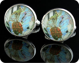 Scottish Cufflinks - Geology cufflinks - Rock thin section - Gabbro from Huntly, Scotland - geology gift - cuff links - gift for a geologist