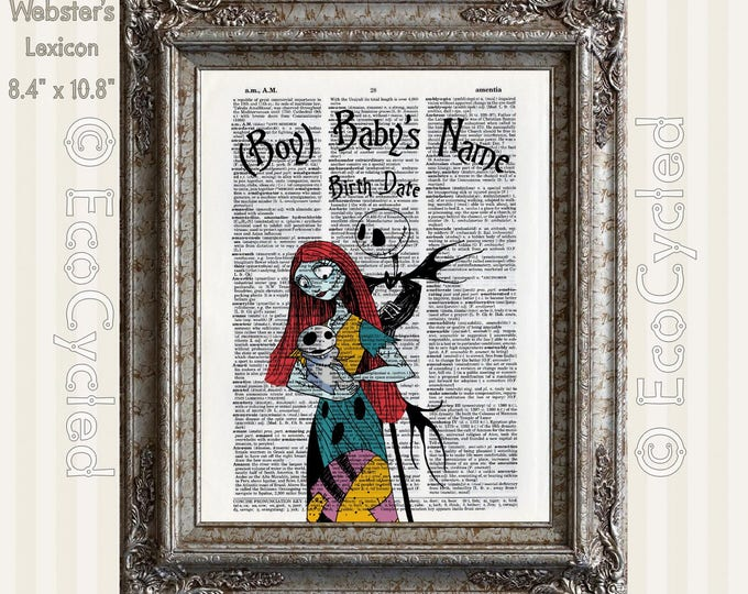 Nightmare Before Christmas Birth Announcement Baby Boy Celebration Jack Sally Custom Vintage Upcycled Dictionary Art Print Book Art Print