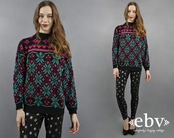 Metallic Sweater Metallic Jumper Black Sweater Holly Sweater Snowflake Sweater Christmas Sweater 80s Sweater 1980s Sweater 80s Party S M L