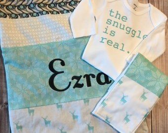 Personalized Boy Girl Unisex Baby Blanket, Mint Green and Gray Munky Baby Blanket and Burp Cloth, Boy Girl Unisex bodysuit, Snuggle is Real