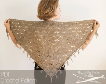 Crochet Pattern: The Harvest Bloom Shawl one size triangle scarf lace autumn fall transitional fringe