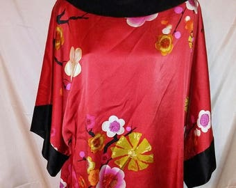 """JULY 4TH SALE 90s Vintage Asian Oriental Silk Blouse-Pullover-Red Floral-50"""" Bust-1X-xL-Resort Lounge Party Cruise"""