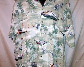 "BIG SUMMER SALE 70s Vintage Aloha Hawaiian Shirt-Collar Loop-Weekend Traveller-Large-44"" Chest-Beach Luau Resort Casual Cruise"