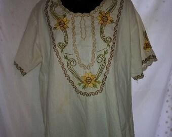 "Arantza Mexican Embroidered Peasant Boho Blouse-Medium-Plus Size xL-48"" Bust-Festival Southwestern Country Western-Folk-Hippie"