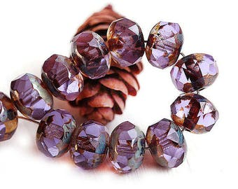 Lilac Purple Czech glass rondelle beads, Picasso finish, spacer rondel fire polished beads, gemstone cut - 6x8mm - 12Pc - 2386