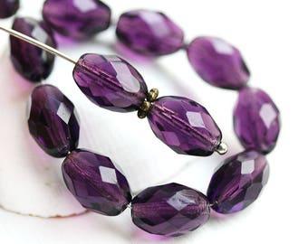 11x8mm Royal Purple oval beads, purple czech glass fire polished barrel beads - 20Pc - 0261