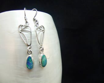 Individually Designed Natural Australian Opal Doublet Sterling Silver Earrings
