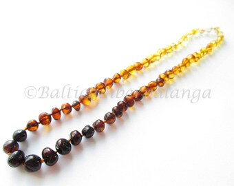 Baltic Amber Necklace, Rainbow Color Rounded Beads, For Adults