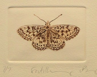 Brown Fritillary butterfly. Small drypoint print on cream cotton paper