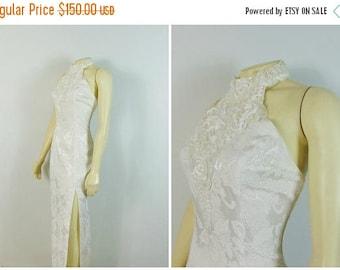 B-DAY SALE Vintage Dress 80s 90s Gunne Sax By Jessica McClintock Ivory Brocade Halter Dress Embellished Wedding / Prom / Formal Sz Small to