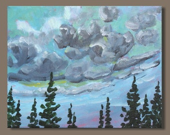 landscape painting, impressionist painting, clouds, gift, cloud study, small painting, Nova Scotia art, east coast, blue gray sky painting