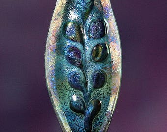 Night Fern Handmade Lampworked Glass Bead OOAK Black Blue Aqua Purple Iridescent Shield Focal Lampwork