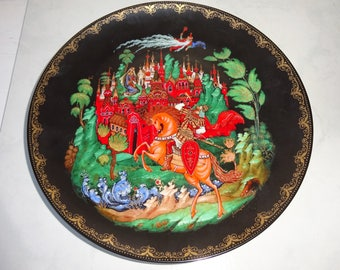 Vintage Russian Decorative Plate Russian Legends 1988 Rusland and Ludmilla